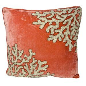 PIER 1 Pillow Velvet Pink Coral Pattern Beaded